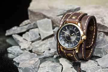 watches and leather bracelet