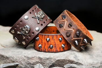 bracelets with spikes and skulls