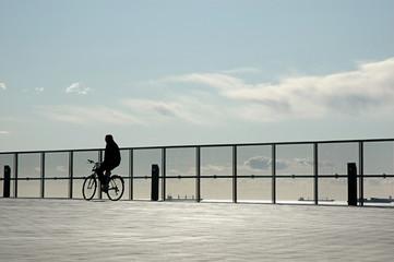 Ciclista junto a una reja