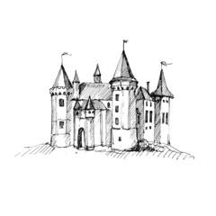Medieval castle sketch.