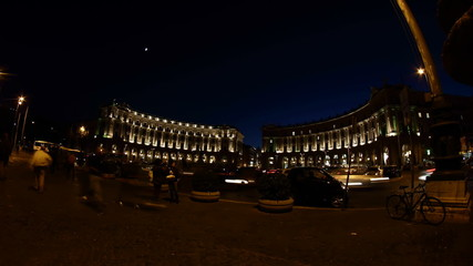 Repubblica square at Night in Rome, Italy
