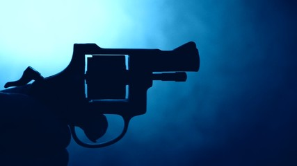 silhouette of handgun,motion effect,