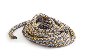 Twisted thick rope on white