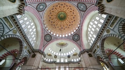 Interior view in Suleymaniye Mosque, Istanbul, Turkey