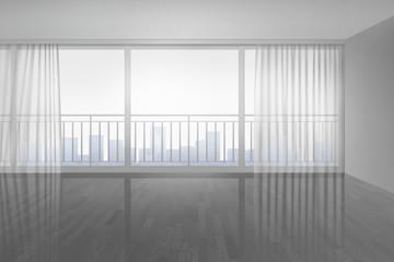 Leerer Raum mit Vorhängen