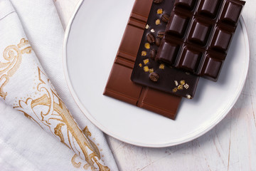 Assorted chocolate on the white plate