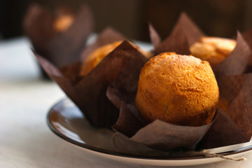 Three muffins on the plate