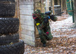 Extreme tactical military training in paintball club