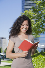 happy woman reading book
