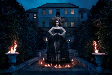 Sorceress in fire spell