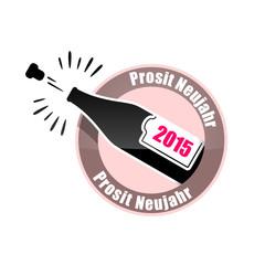 button prosit neujahr 2015 rosa