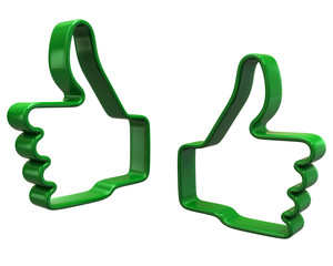 Green hands with  thumbs up