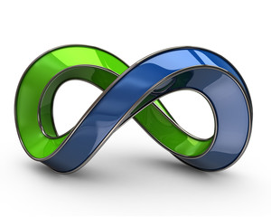 Blue and green infinity symbol