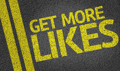 Get More Likes written on the road