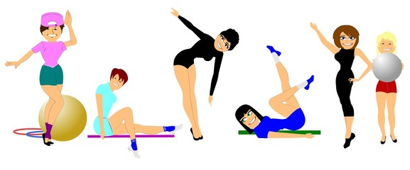 women in gym exercising