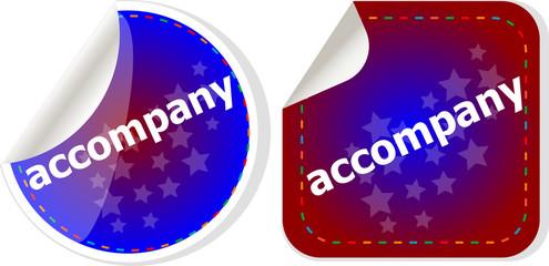 accompany stickers set on white, icon button