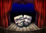 Theater stage with red curtains and masks