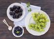 Blue and grren fruits