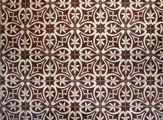 Tiled floor with brown Mediterranean decorations
