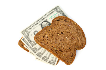 Two slices of bread topped with cash dollar bills