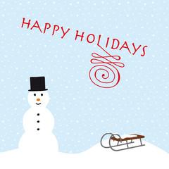 happy holidays schneemann und schlitten