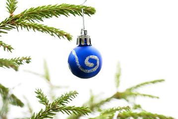 Christmas Fir Tree With Blue Christmas Ball