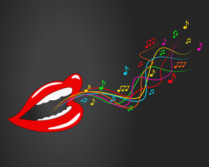 Mouth, lips - vector, music, sing, notes