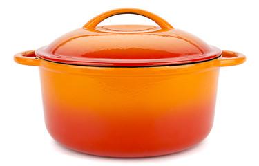 Orange Iron Pot