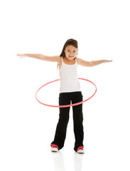 Happy girl with hula hoop
