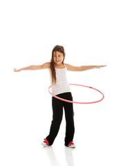 Happy girl with hula hoop
