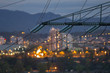 Leinwanddruck Bild - High power electricty poles in urban area
