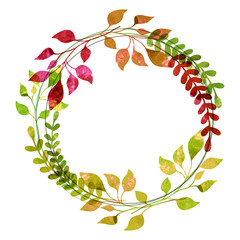 Watercolor wreath from colorful autumn leaves. Vector illustrati