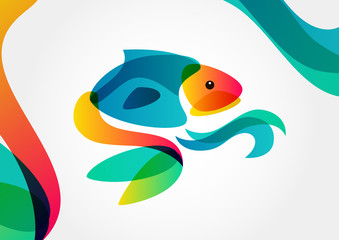 Abstract tropical fish on colorful background, logo design templ