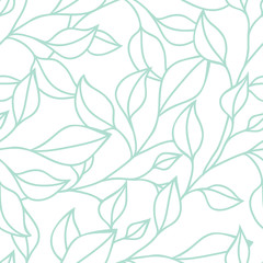 Floral seamless pattern with green leaf. Vector background