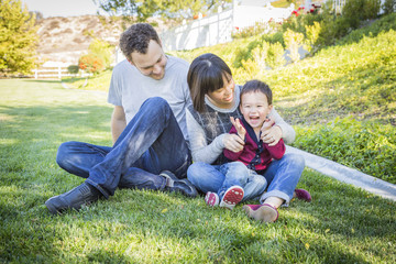 Mixed Race Family Having Fun Outside