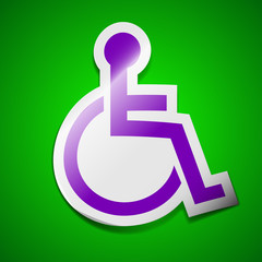 Disabled icon sign. Symbol chic colored sticky label on green