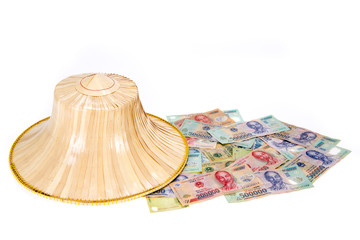 Vietnamese money, dong with asian style hat