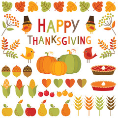 set of thanksgiving and autumn design elements