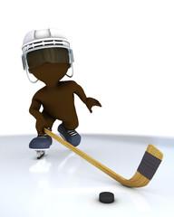 3D Morph Man playing ice hockey