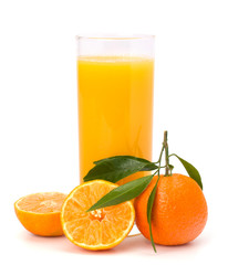 Tangerines and juice glass
