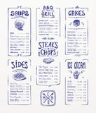 Menu template. Blue pen drawing.Soups, sides...