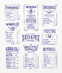 Breakfast menu. Blue pen drawing