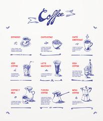 Coffee menu. Blue pen drawings