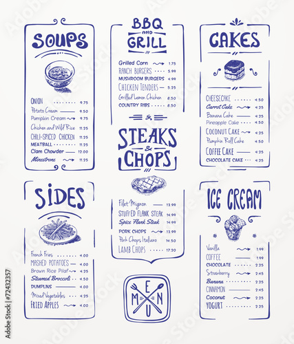 Menu template. Blue pen drawing.Soups, sides...