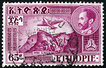 Postage stamp Ethiopia 1951 Plane over Amba Alagi