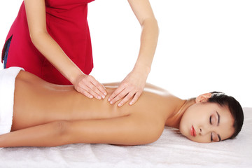 Young woman massage in spa