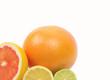 Image of a fresh whole lime, lemon and orange isolated on white