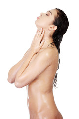 Wet naked woman