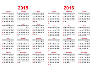 2015 and 2016 years calendar