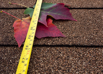 Tape measure and autumn leaves on asphalt shingles